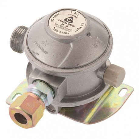 Cavagna 30mbar Caravan Gas Regulator 10mm - Angled Inlet